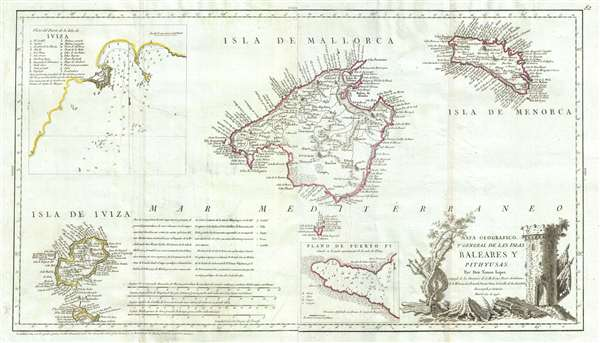 Mapa Geografico, y General de Las Islas Baleares Y Pithuyusas.
