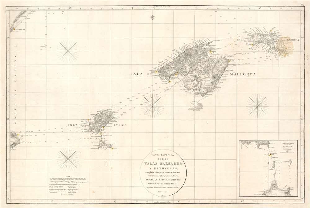 Carta Esferica de las Islas Baleares y Pithyusas, arreglada a la que se construyo en 1807 en la Dirección Hidrografica de Madrid. - Main View