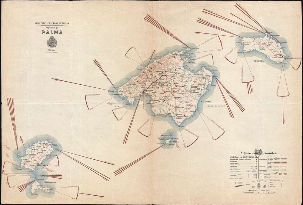1935 Instituto Geografico Map of Balearic Islands: Majorca, Minorca, and Ibiza