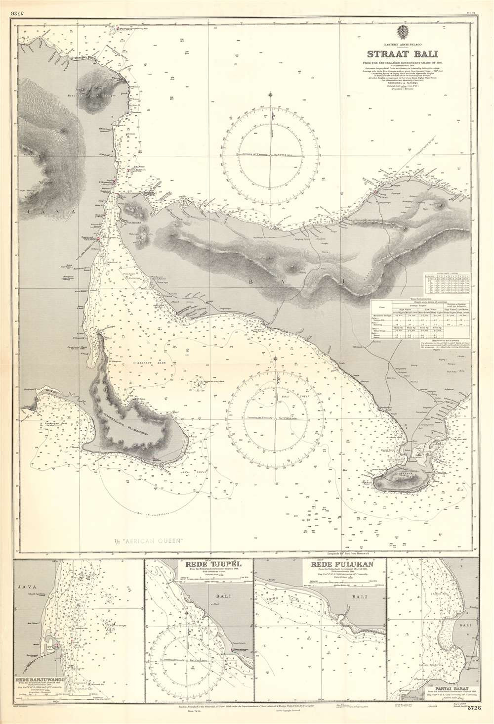 Eastern Archipelago Straat Bali from the Netherlands Government Chart of 1907 With Corrections to 1954. - Main View