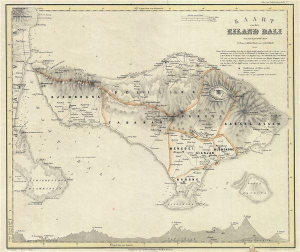 Kaart van het Eiland Bali.