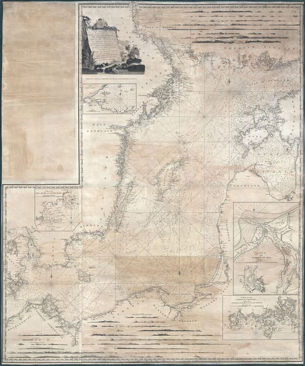 A new and correct Chart of the Baltic from the Cattegat to Soderhamn and the entrance of the Gulf of Finland on a Mercator's Projection.   Including the harbors of Riga, Carlshamn, Aus and Geffle, with Views of the principal Headlands taken from the best Swedish and Russian Surveys; and Improved by John Hamilton Moore Hydrographer and Chartseller to his Royal Highness the Duke of Clarence.