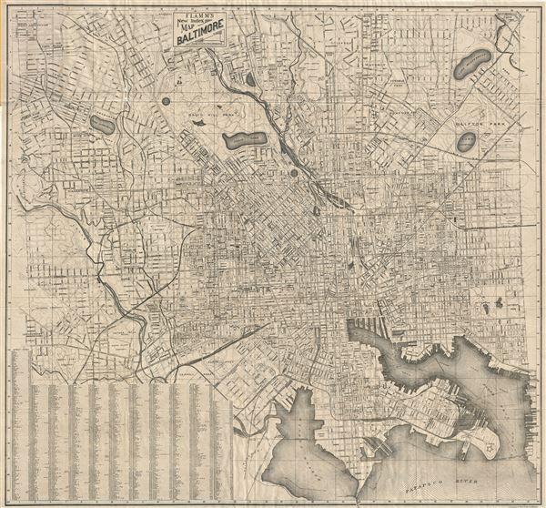 Flamm's New Index Map Baltimore. - Main View