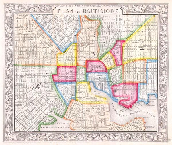 Plan of baltimore geographicus rare antique maps - Antique exchange home design baltimore md ...