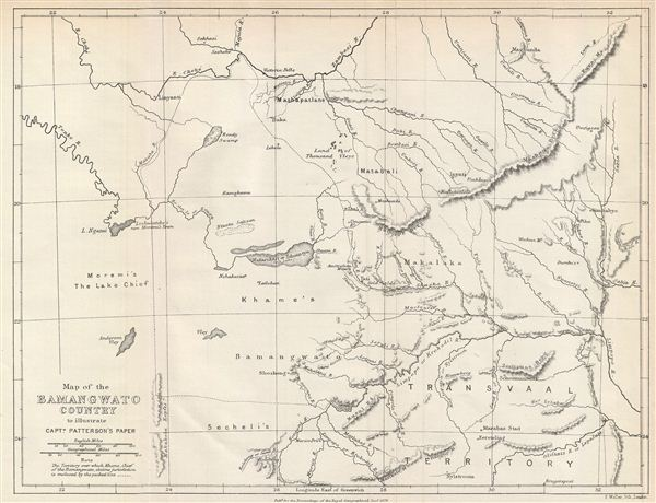 Map of the Bamangwato Country to Illustrate Captn. Patterson's Paper.