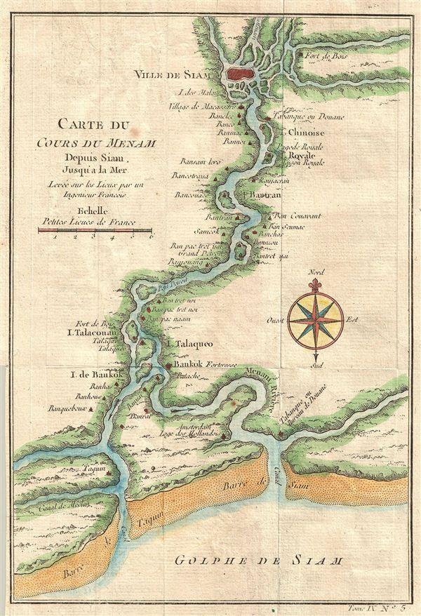Carte du Cours Du Menam Depuis Siam Jusqu'a La Mer Levee sur los Lieux par un Ingenieur Francois