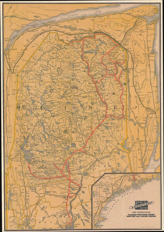 1915 Rand Avery Railroad Map of Maine: Bangor and Aroostook Railroad
