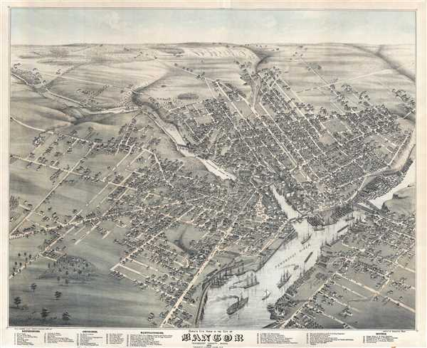 Bird's Eye View of the City of Bangor Penobscot County, Maine, 1875.