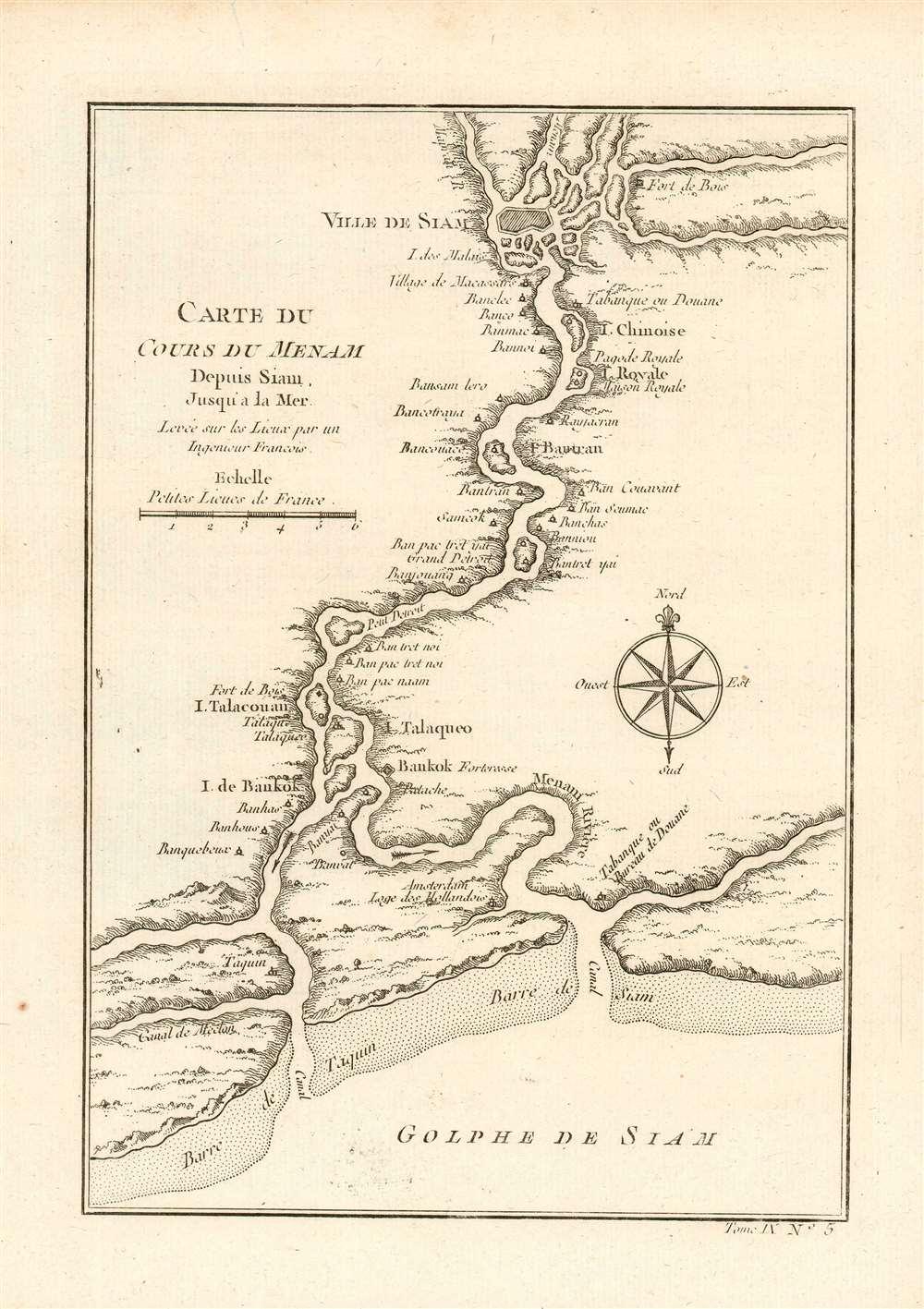 Carte du Cours Du Menam Depuis Siam Jusqu'a La Mer Levee sur los Lieux par un Ingenieur Francois - Main View