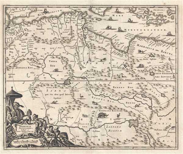 1686 Dapper Map of North Africa : Morocco, Algeria, Tunisia, Libya