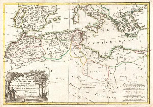 Carte des Cotes de Barbarie ou Les Royaumes de Marco, de Fez, d'Alger, de Tunis, et de Tripoli avec les Pays Circonvoisins.