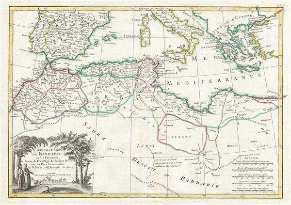 Carte des Cotes de Barbarie ou Les Royaumes de Marco, de Fez, d'Alger, de Tunis, et de Tripoli avec les Pays Circonvoisins. - Main View