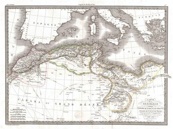 Carte de la Barbarie contenant L'Empire de Maroc et Les Regences D'Alger, De Tunis et de Tripoli.
