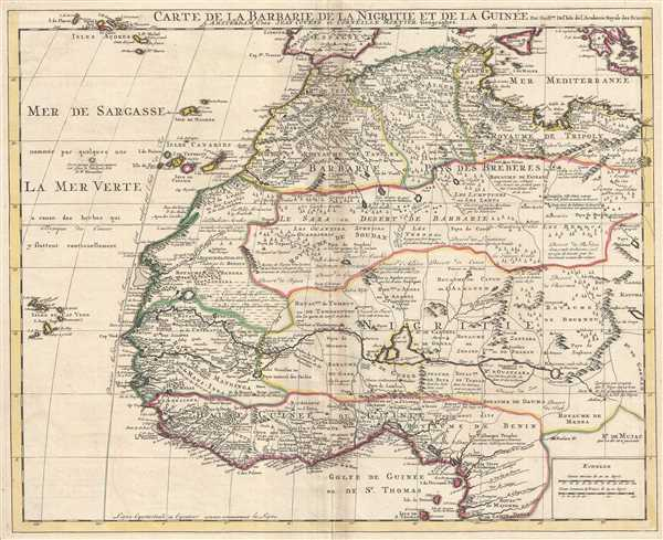 1742 Covens and Mortier Map of West Africa: Guniea, Benin, Morocco, Triopoli