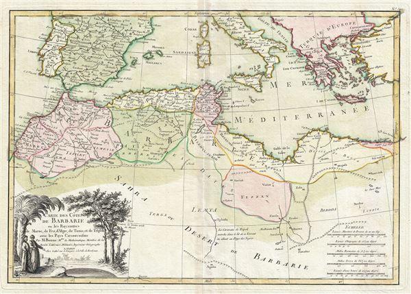 Carte des Cotes de Barbarie ou les Royaumes de Maroc, de Fez, d'Alger, de Tunis, et de Tripoli avec les Pays Circonvoisins.