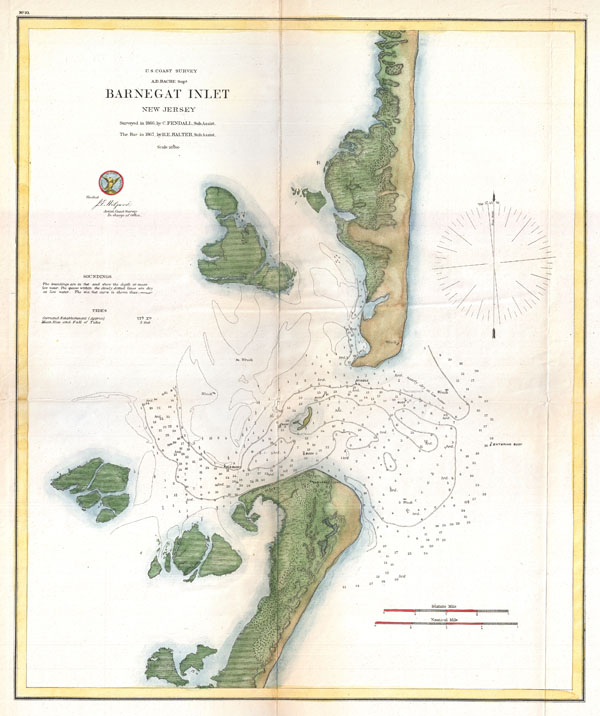 Island Beach State Park Nj: Barnegat Inlet, New Jersey.: Geographicus Rare Antique Maps