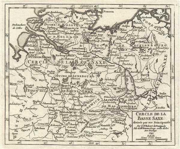 1749 Vaugondy Map of Lower Saxony, Germany