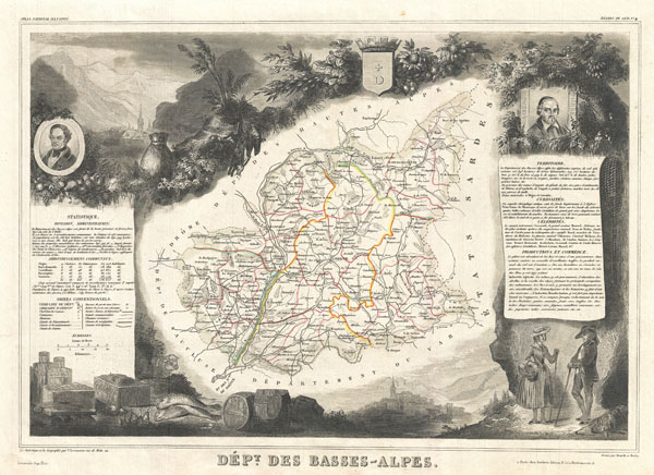 1852 Levasseur Map of the Basses-Alpes Department, France