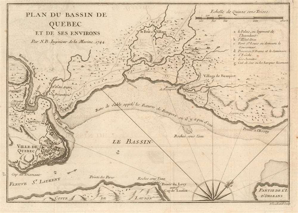 Plan du Bassin de Quebec et de ses environs par N. B. Ingenieur de la Marine 1744. - Main View