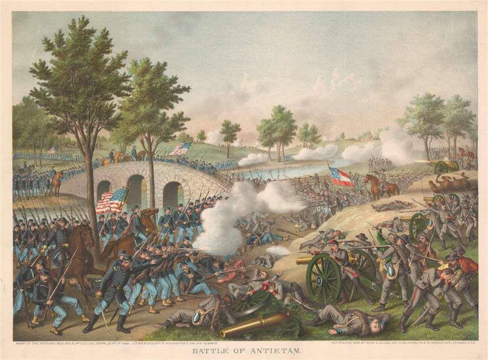 1888 Kurz and Allison View of the Civil War Battle of Antietam, Maryland
