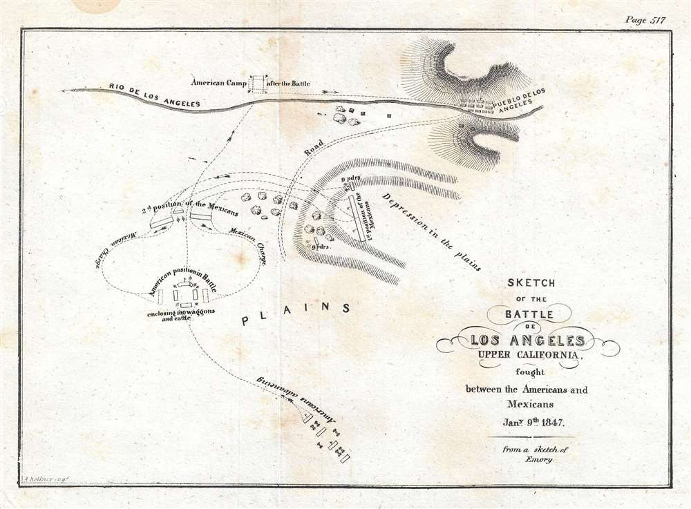 Sketch of the Battle of Los Angeles Upper California, fought between the Americans and Mexicans January 9th, 1847.