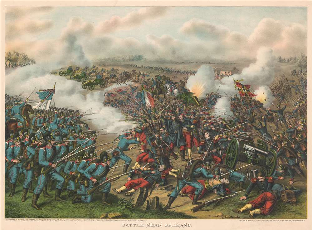 1890 Kurz and Allison View of Franco-Prussian War Second Battle of Orléans, France