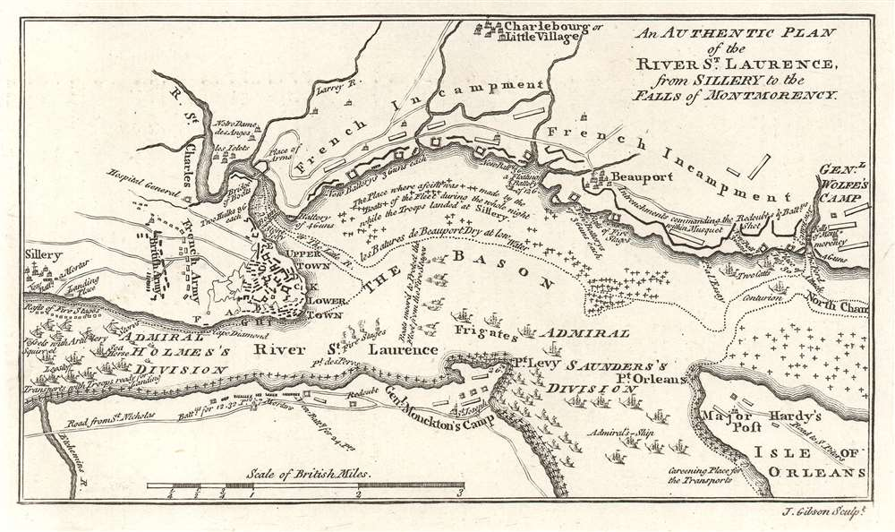 An Authentic Plan of the River St. Laurence, from Sillery to the Falls of Montmorency.