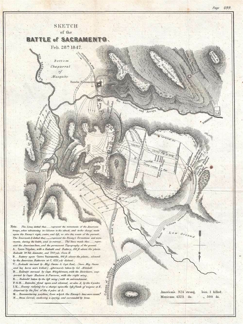 Sketch of the Battle of Sacramento Feb. 28th, 1847. - Main View