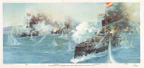 The Destruction of the Spanish Fleet Under Admiral Cervera off Santiago, July 3.