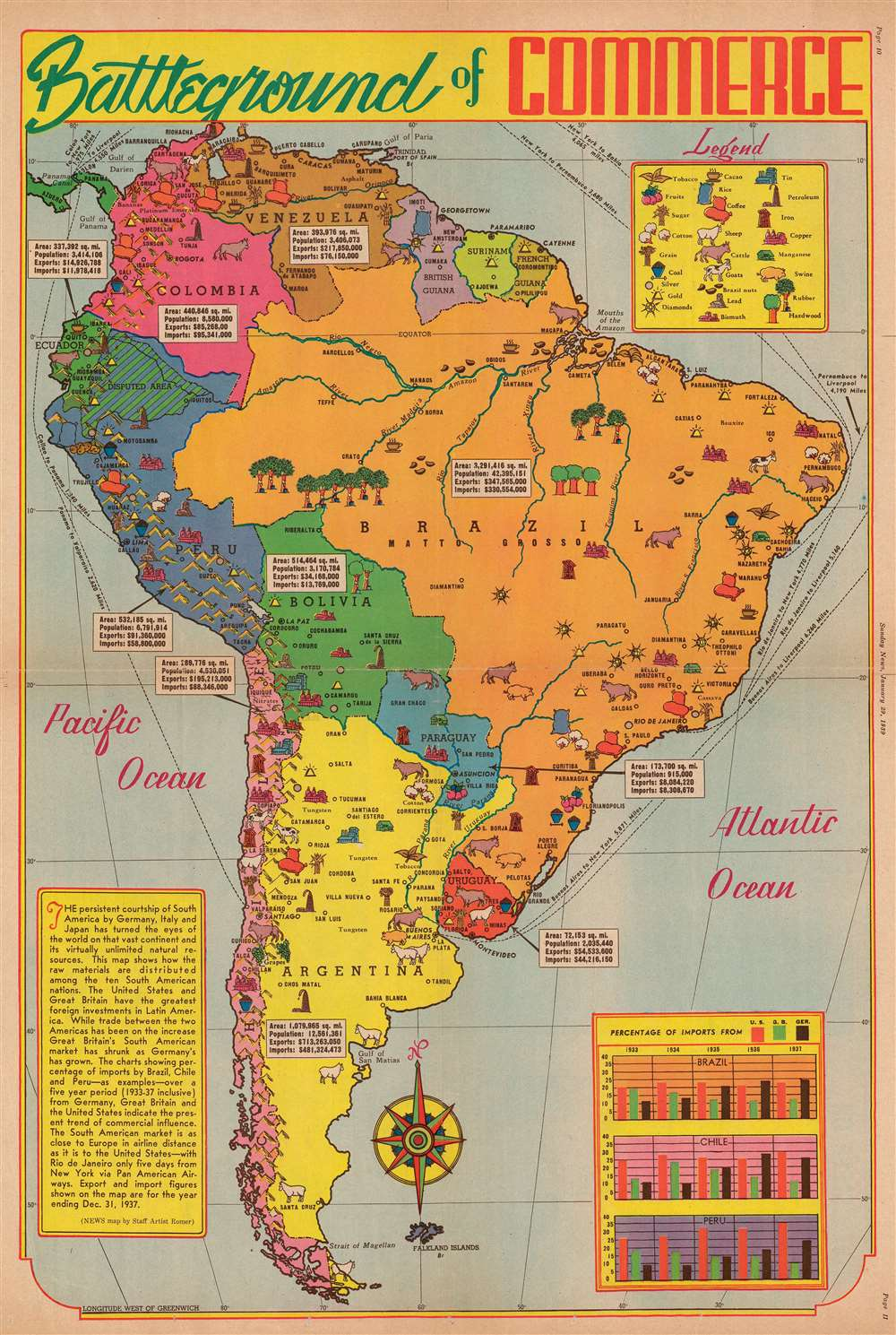 1939 Romer Pictorial Resource Map of South America