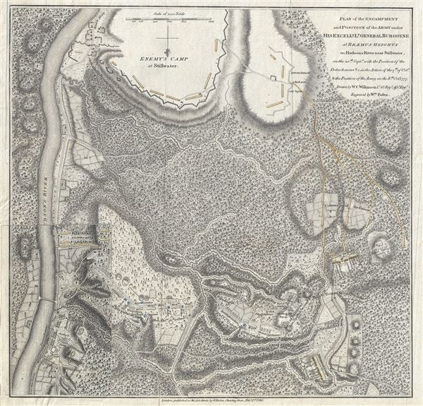 Plan of the Encampment and Position of the Army under His Excelly. Lt. General Burgoyne at Braemus Heights on Hudson's River near Stillwater, on the 20th of Setpr, with the Position of the Detachment & c. in the Action of the 7th, of Octr, & Position of the Army on the 8th, Octr 1777.