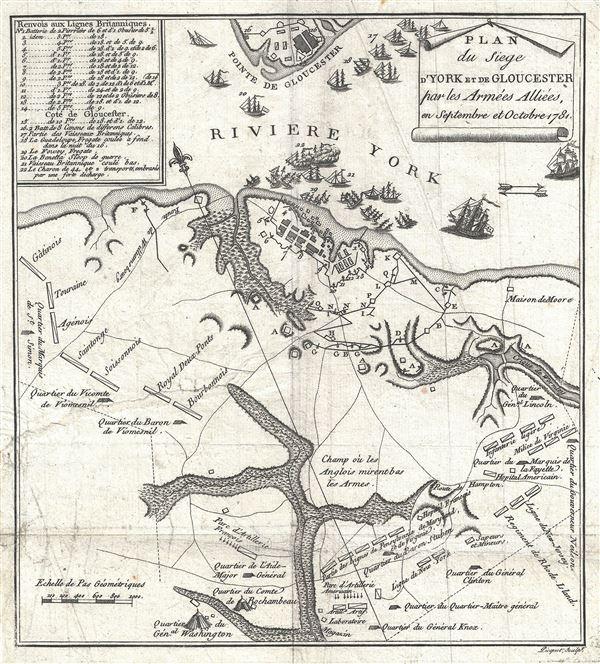 Plan du Siege d'York et de Gloucester par les Armees Alliees en Septembre et Octobre 1781.