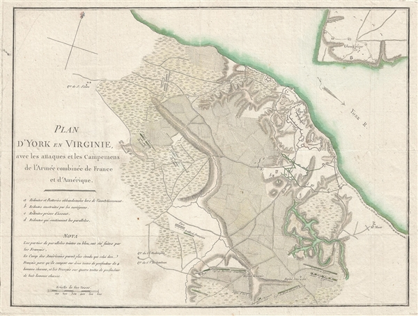 Plan D'York en Virginie avec les attaques et les Campemens de l'Armee combinee de France et d'Amerique. [Battle of Yorktown]