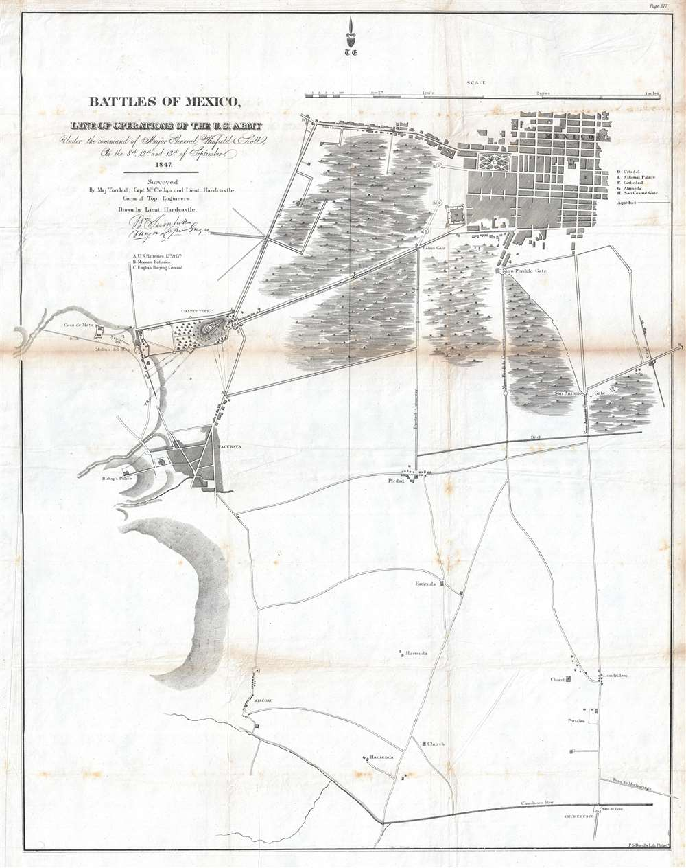 Battles of Mexico, Line of Operations of the U.S. Army under the command of Major General Winfield Scott, on the 8th, 12th and 13th of September, 1847.