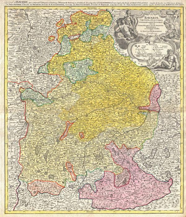 Bavariae Circulus et Electorat Insuadquasque Ditiones tam cum Adiacentibus Quam Insertis Regionibus accuratissime divisus part Jo: Baptistam Homannum Norimbergae.  / <i>La cercle de Baviere, qui comprend la regence d'Amberg …</i>