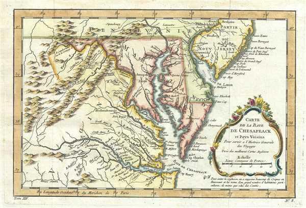 Carte de la Baye de Chesapeack et Pays Voisins.