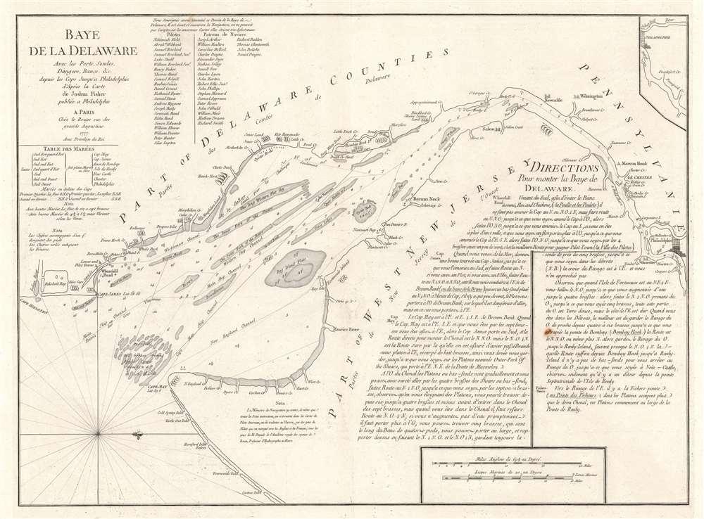 Baye de la Delaware Avec les Ports, Sondes, Dangers, Bancs, etc. depuis les Caps Jusqu'a Philadelphie d'Après la Carte de Joshua Fisher publiée a Philadelphie.