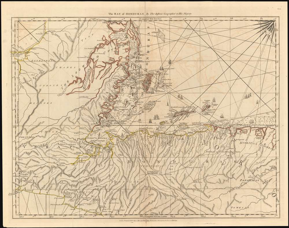 The Bay of Honduras. By Thos. Jefferys Geographer to His Majesty. - Main View