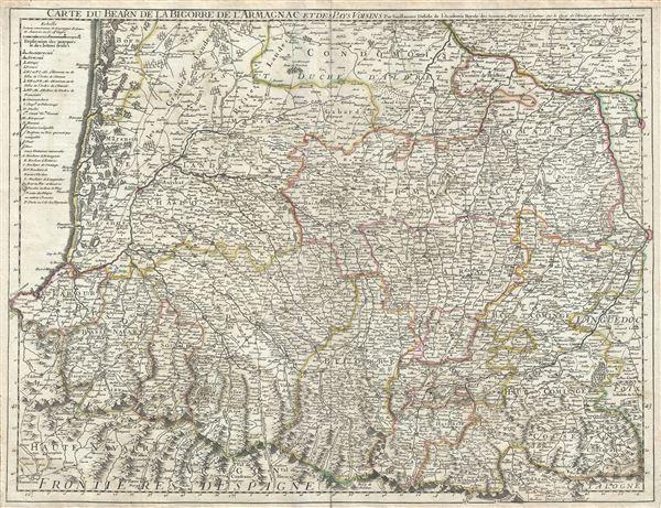 Carte du Bearn de la Bigorre de l'Armagnac et des Pays Voisins.