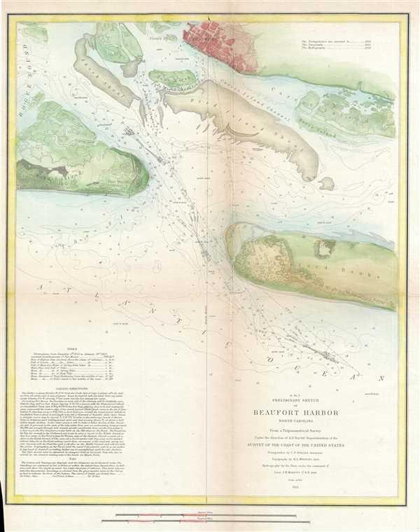 D No.5 Preliminary Sketch of Beaufort Harbor North Carolina. - Main View