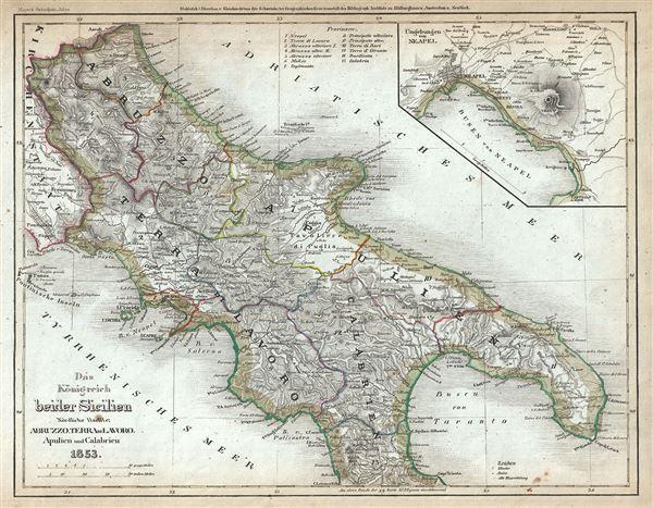 Das Konigreich beider Sicilien. Nordliche Halfte: Abruzzo, Terra di Lavoro, Apulien, Calabrien. - Main View