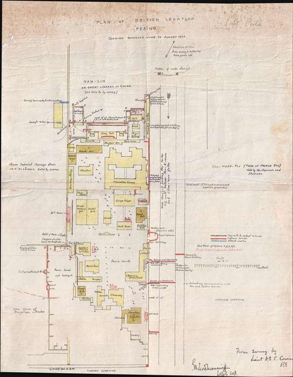 Plan of British Legation Peking shewing defences June to August 1900. - Main View