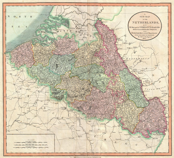 A New Map of Netherlands, also of that part of Germany westward of the Rhine as ceded to the French and divided into their several departments, from the Latest Authorities.