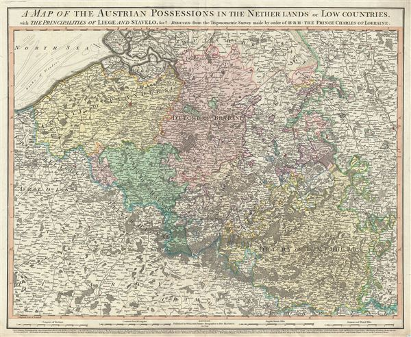 A map of the Austrian possessions in the Netherlands or Low Countries, with the principalities of Liege and Stavelo, etc.