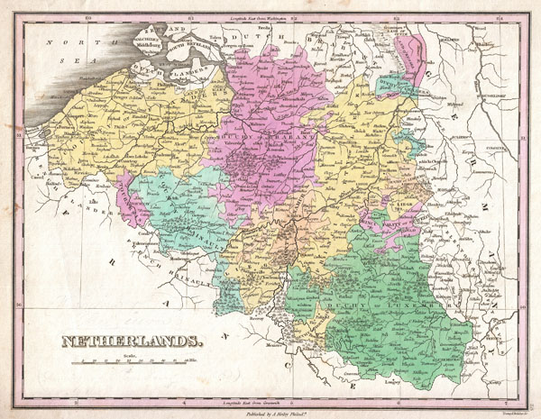 1827 Finley Map of Belgium and Luxembourg