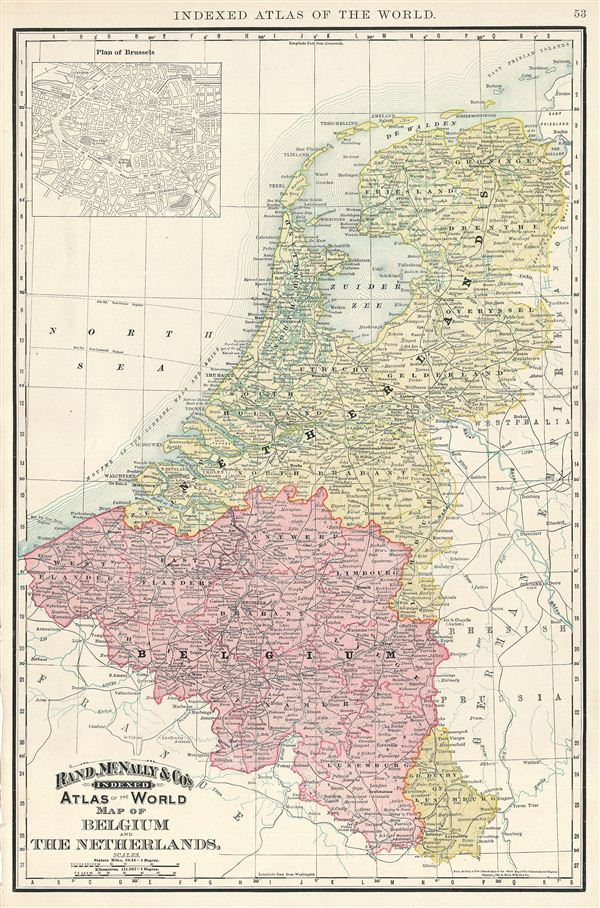 Map of Belgium and The Netherlands.