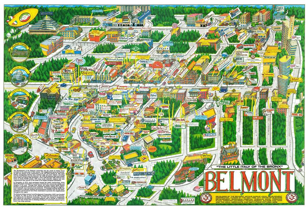 1986 Ranlee Pictorial Map of Belmont, the 'Little Italy' of the Bronx, New York City