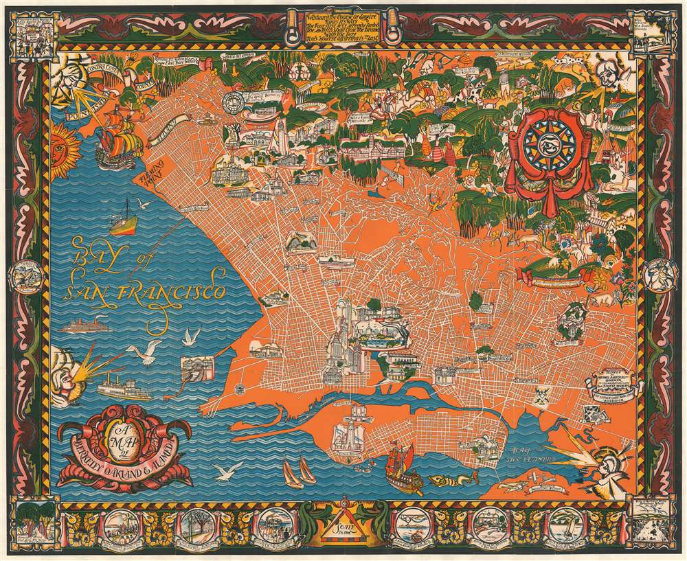 1930 Baltekal-Goodman Pictorial Map of Berkeley and Oakland, California