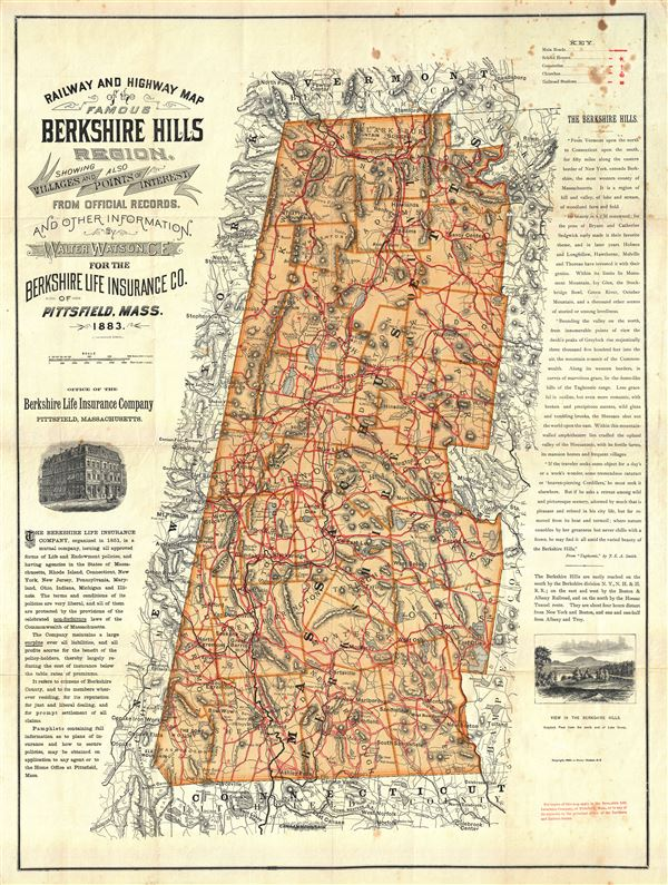 Railway and Highway Map of the Famous Berkshire Hills Region, Showing Villages and also Points of Interest. - Main View