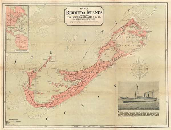 Map of Bermuda Islands compiled for The Bermuda-Atlantic S. S. Co.